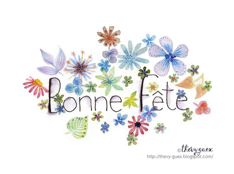Carte Bonne Fete Bouquet Fleurs Peinture Aquarelle Reproduction