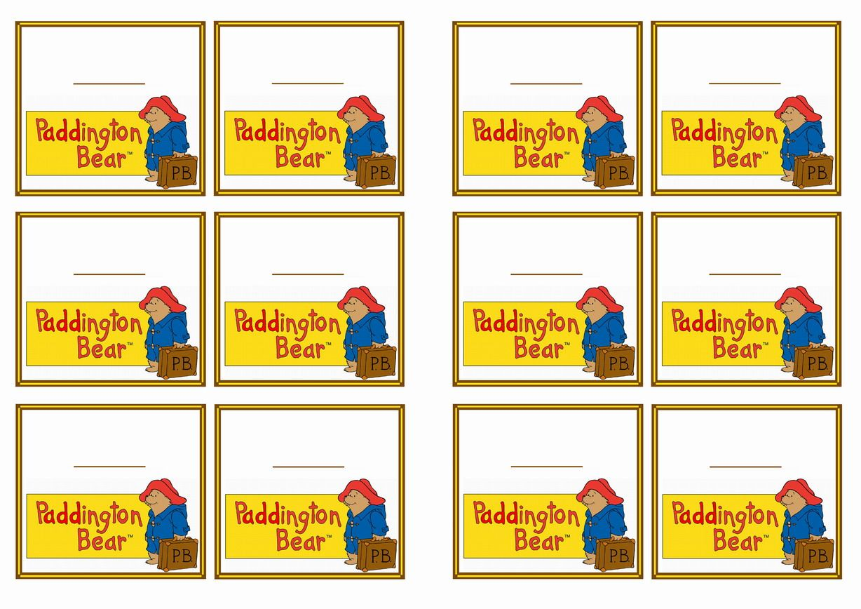 Paddington Bear Name Tagsle 6 Themed Name Tags