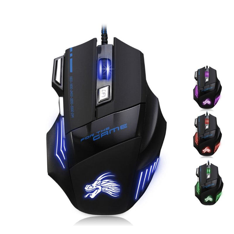 Professional Wired Gaming Mouse 6 Button 5500 DPI LED Optical USB