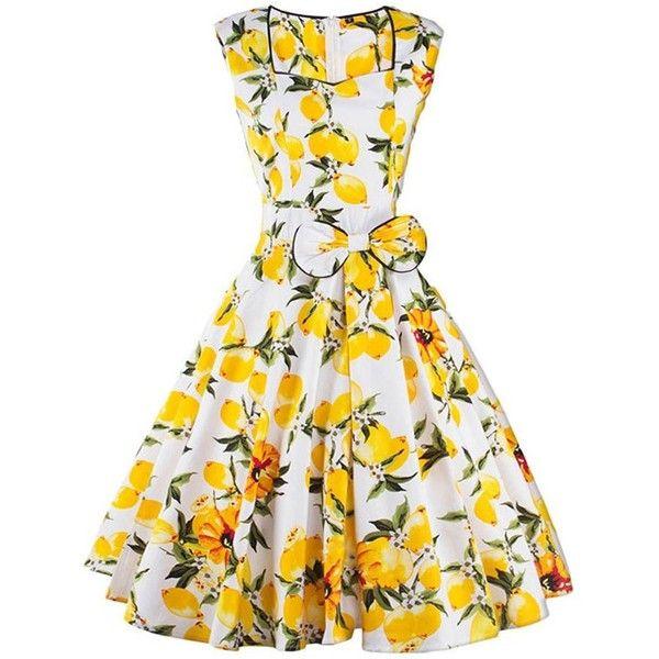 Women/'s Floral Flower Dress Sundress Sleeveless Waistband White Orange White