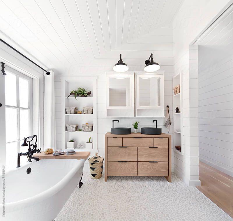 Stock photo of Rustic modern farmhouse bathroom in small ... on Rustic Farmhouse Bathroom Tile  id=14876