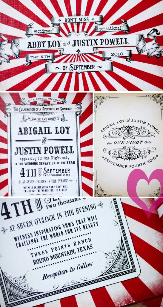 Two Ring Circus invitation -- photo montage by Jennifer Monnich ...