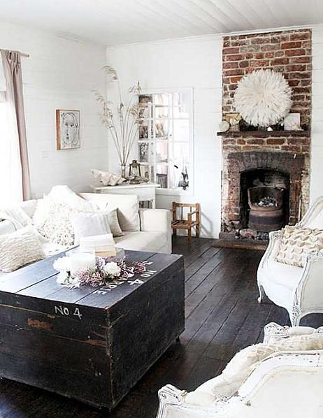 Love the exposed brick and the fireplace