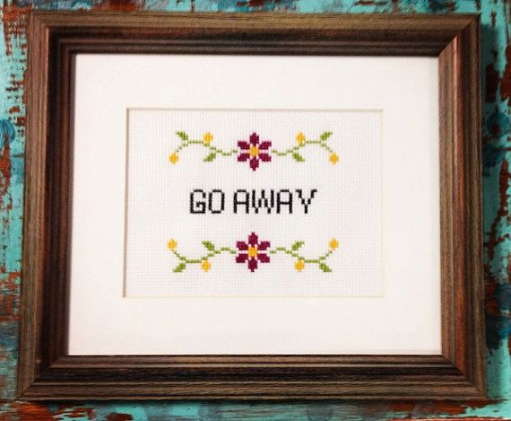 Go Away funny cross stitch pattern instant download  Easy