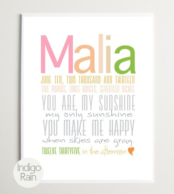 You are my sunshine trendy Birth Print Custom Baby by IndigoRain, $24.00