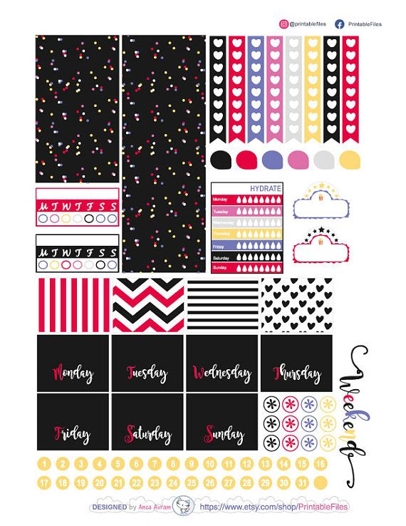 Printable planner stickers this is a weekly kit of stickers designed for the happy planner vertical clasic however you can use this weekly kit in other