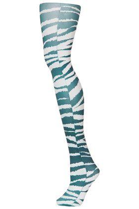 Monochrome Zebra Print Tights