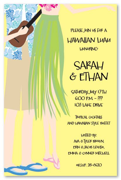 Hawaiian Luau Couple Bridal Shower Invitations, 5705 | Gift/party ...