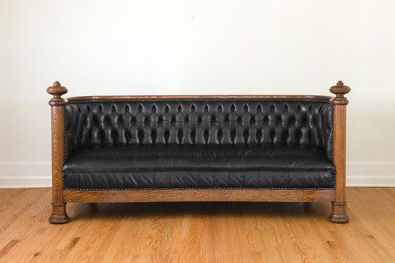 Antique Restored Black Leather Chesterfield Sofa   Seattle Theater Couch