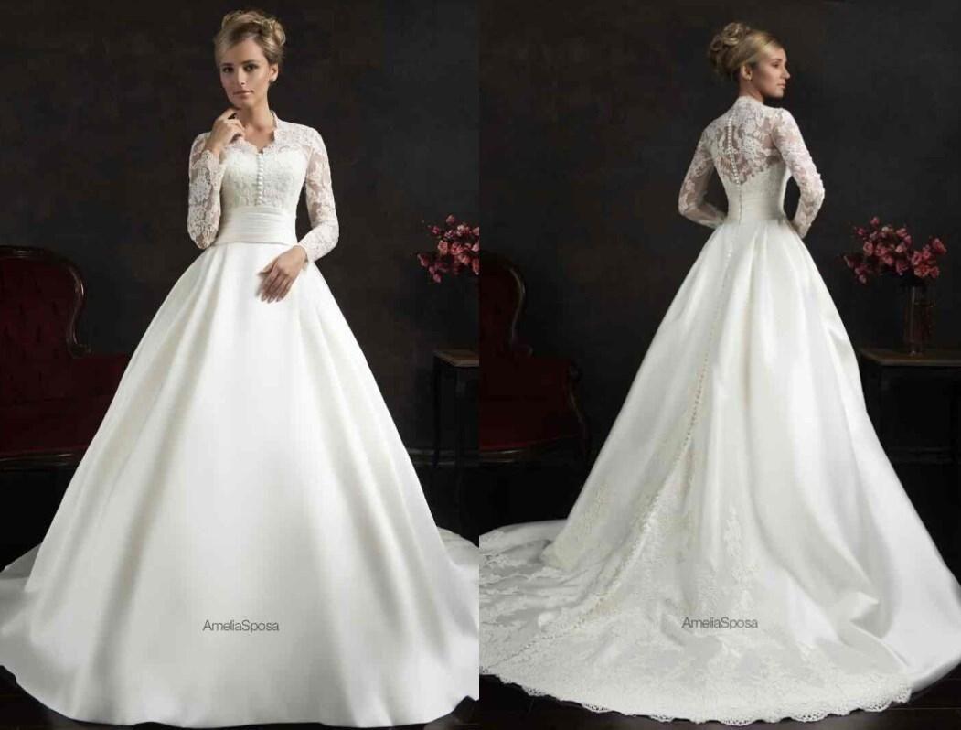 wedding dress long sleeve lace modest Bella Forte Glass