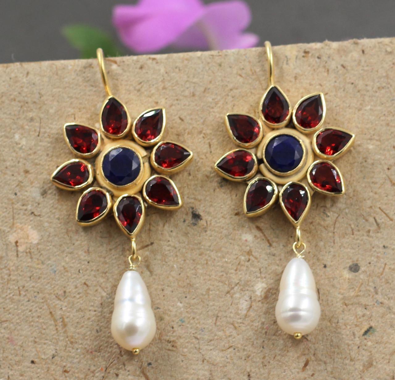 Wedding Gift,Royal Garnet Handmade 925 Sterling Silver Gold Plated Dangle Earrings For GIFT
