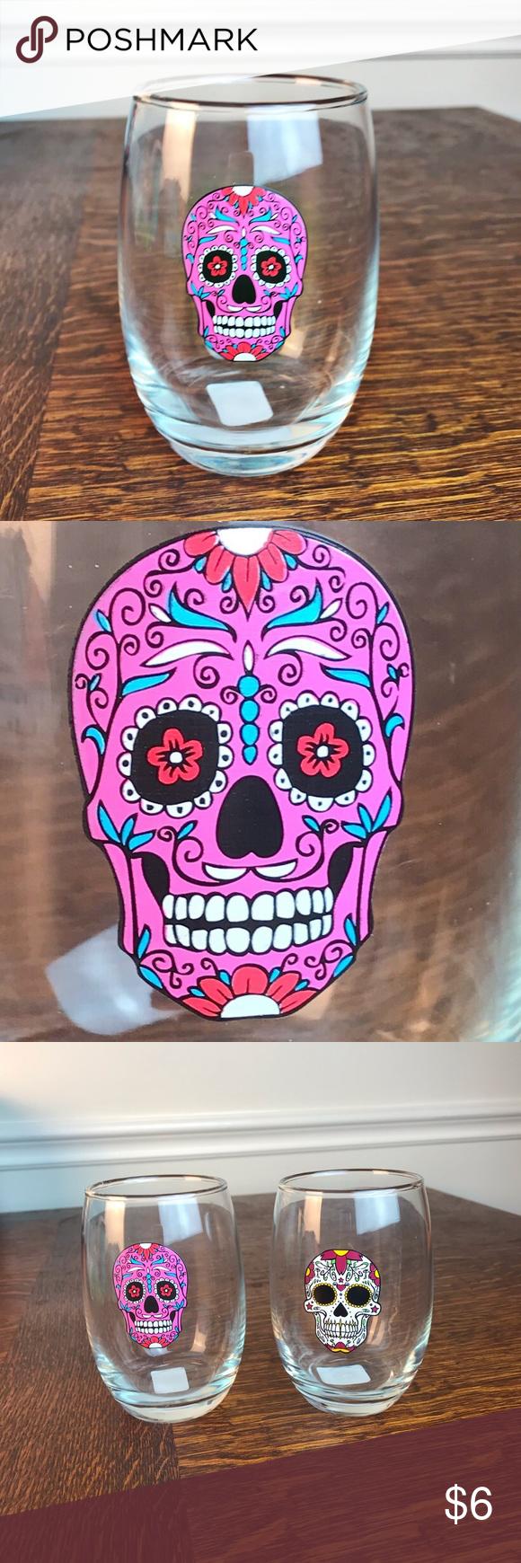Sugar skull stemless wine glass purple skull Day of the