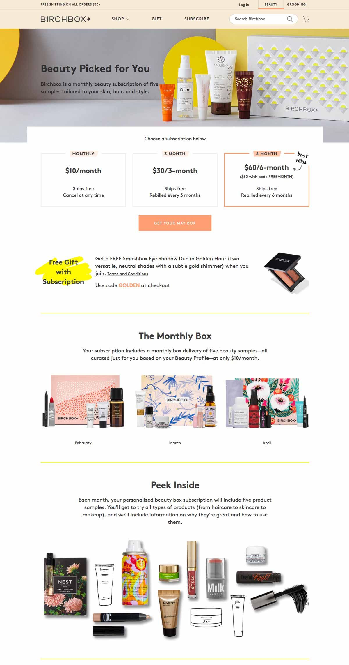 Birchbox Online Product Page How to plan