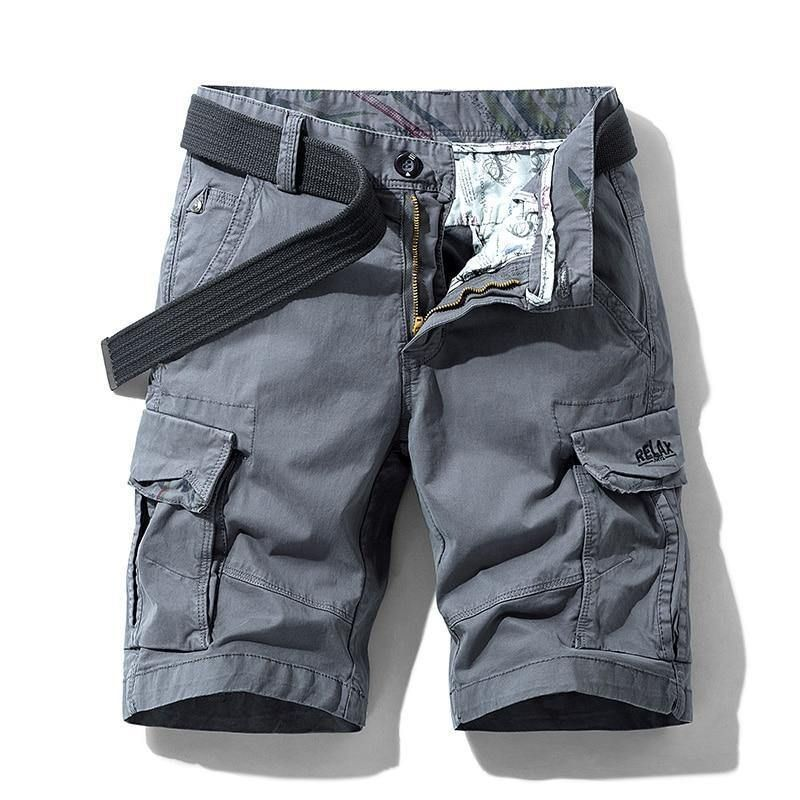 Men Summer Stretch Twill Cotton Cargo Shorts For Men - Gray / 34