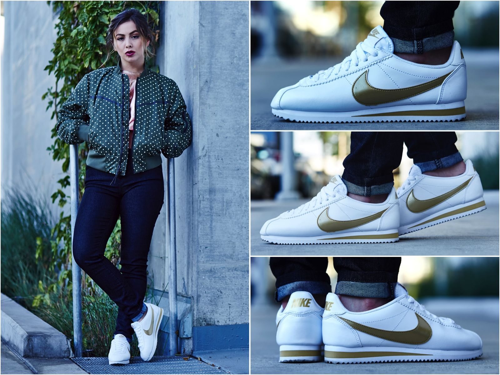ON,FOOT LOOK // NIKE CORTEZ LEATHER WHITE/GOLD in 2019