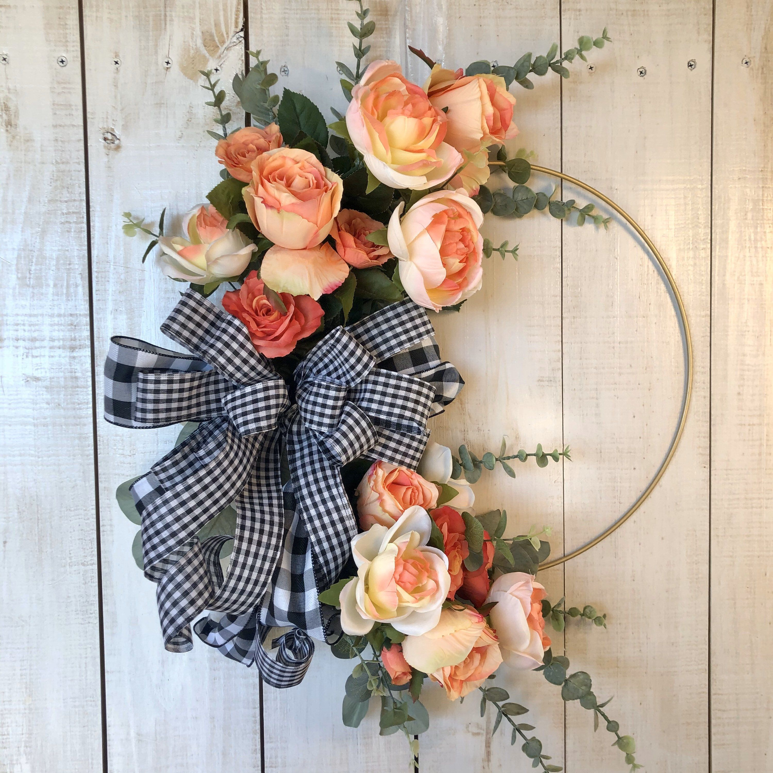 Photo of Everyday hoop wreath, peasant wreath, peony wreath, all year round wreath, everyday ring wreath for the front door, peasant wreath wall decoration,