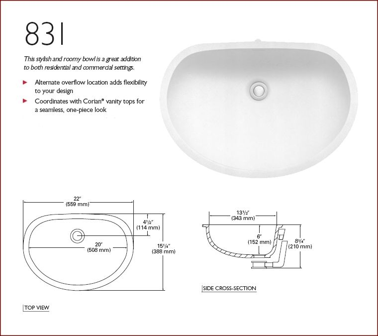 831 Corian Sink For Tops Greater Than 22 Inch Depth