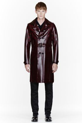 c390215aa4c8 Burberry Prorsum Burgundy Sheen Pvc Trench Coat for men