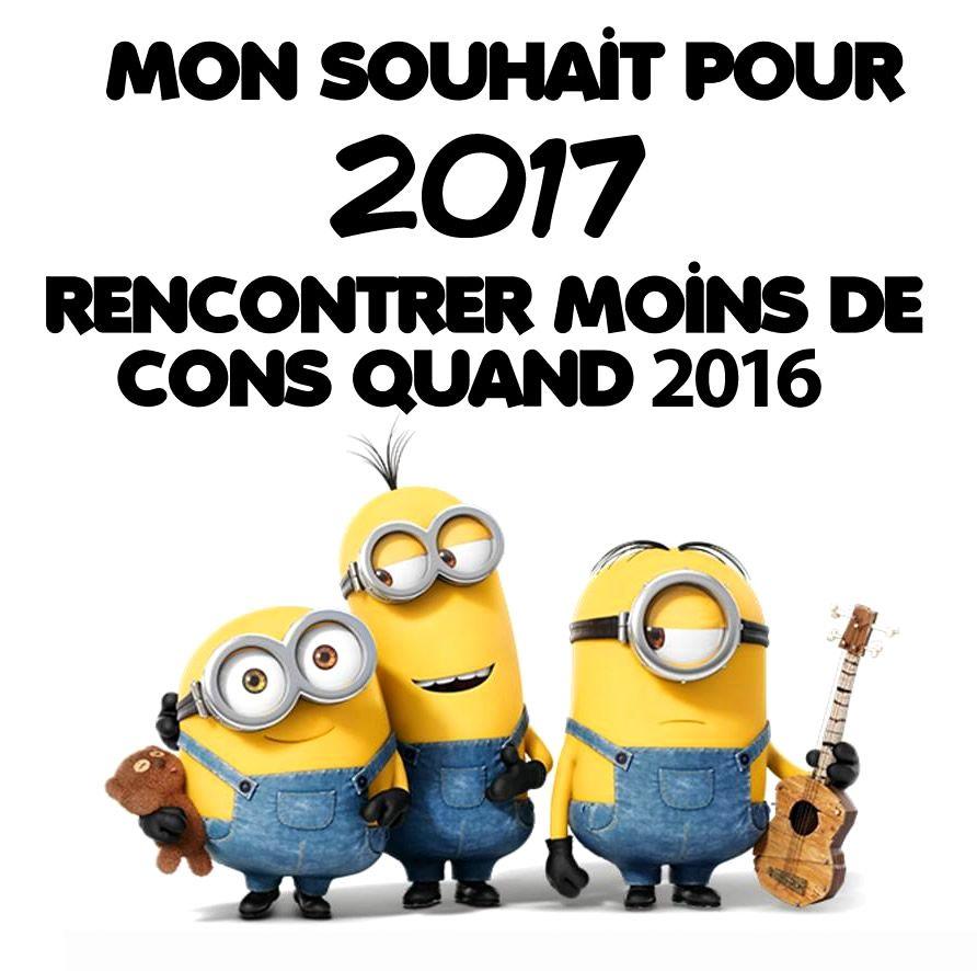 Mon Souhait Pour 2017 Rencontrer Moins De Cons Qu En 2016 Bonneannee Minions Bonne Annee Humour Bonne Annee Humour Humour Blagues Mignonnes