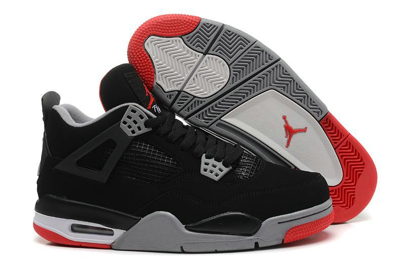 520e898cd891 Fashion Air Jordan 4 (IV) Retro Bred Black Cement Grey-Fire Red ...
