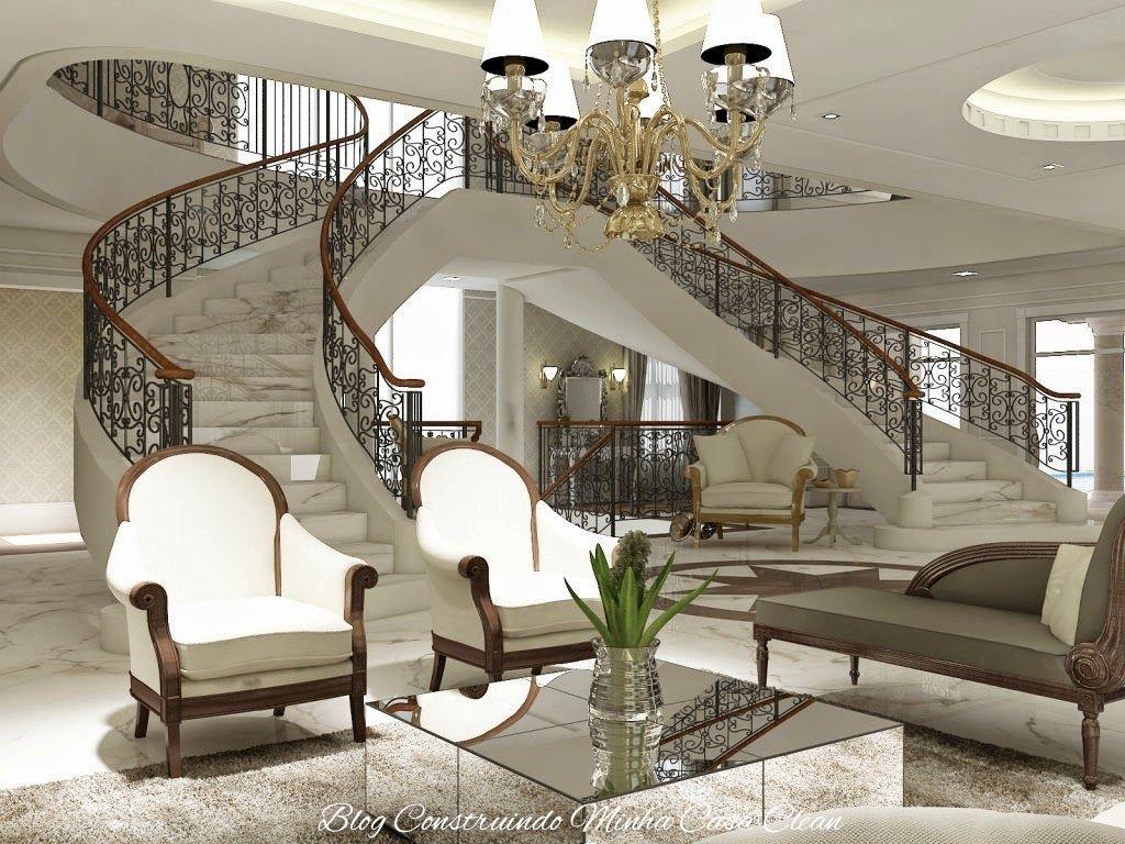 30 salas de estar decoradas com escadas em curva for Foto casa classica