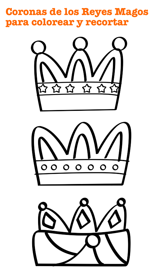 Corona Reyes Magos para colorear | Kronen, Königin und Masken