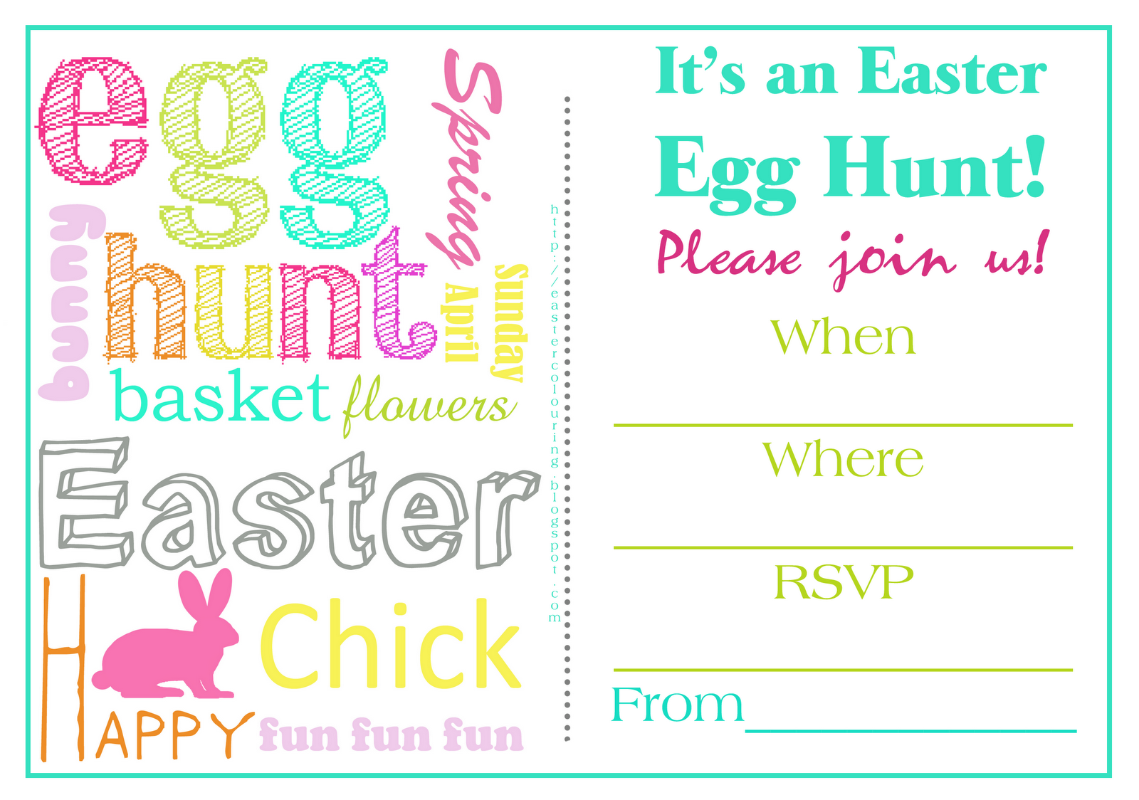 free easter egg hunt party invites fill in the blanks to