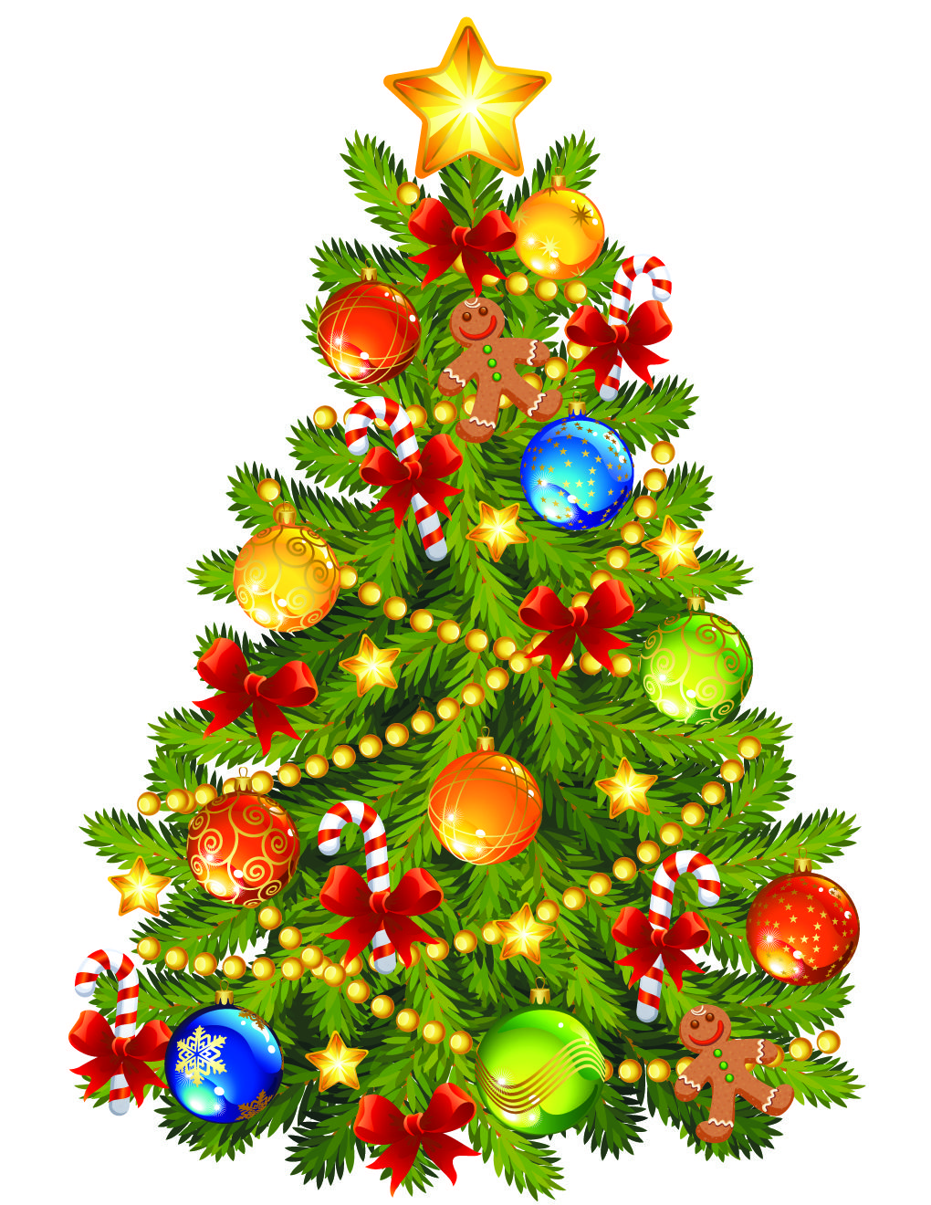 Large Transparent Christmas Tree with Gingerbread Ornament Clipart