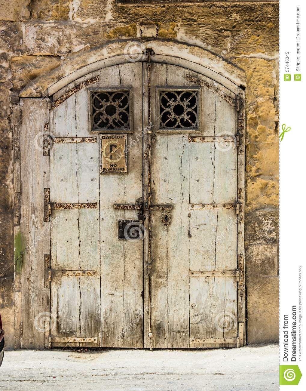 Wooden Garage Doors In A Street In Valletta Stock Photo Image