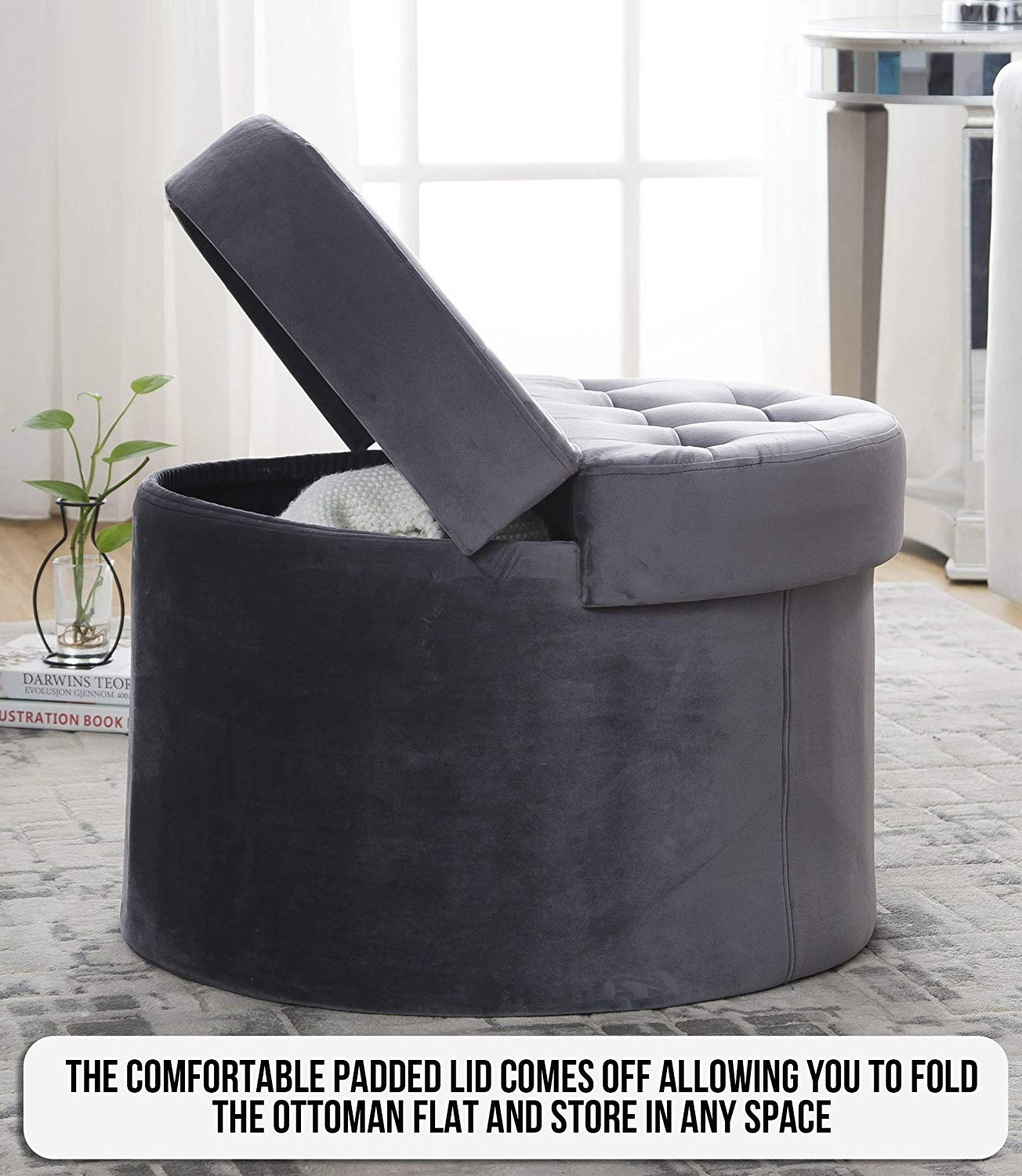 Fantastic Foldable Velvet Tufted Storage Ottoman Square Round Cube Alphanode Cool Chair Designs And Ideas Alphanodeonline