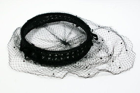 Vintage Black Fascinator Veil Hat, 1950s Black Velvet Diadem Crown Hat, Millinery Supply Ring Cocktail Hat