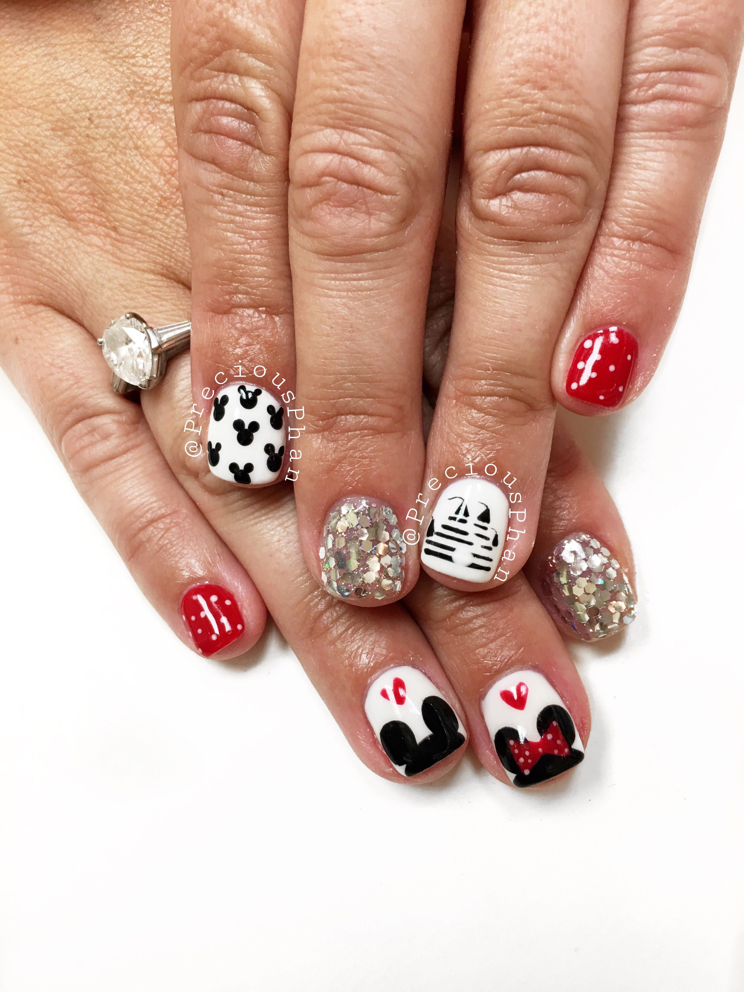 Mickey Mouse Minnie Mouse Disneyland Nails Preciousphan Disney Nails Minnie Mouse Nails Mickey Nails