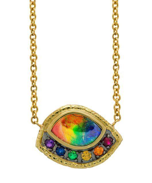 Sapphire Ammonite Necklace Gemstone Necklace Designer necklace