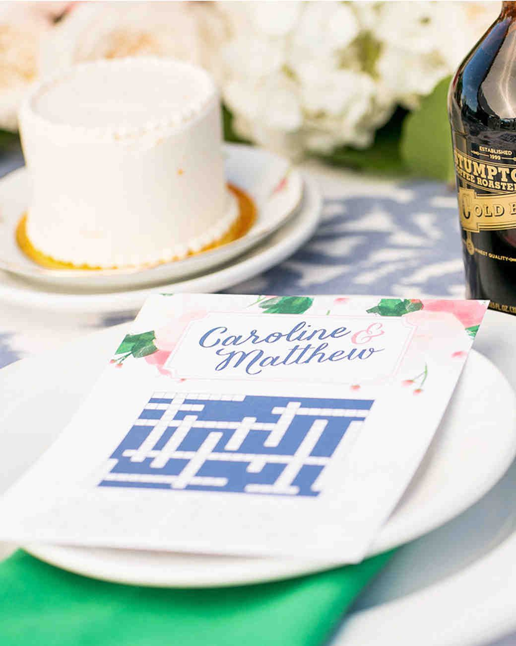 Brunch weddings are all about the fun! Keep your guests entertained with tableside crossword puzzles. Bonus: It's a cute memento for them to take home!