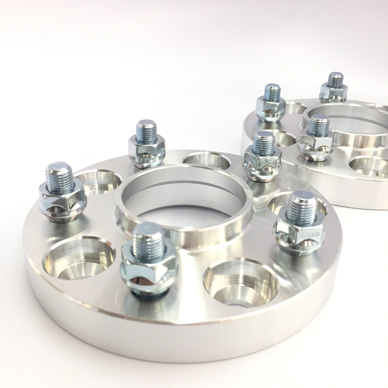 2pc 15mm Hub Centric Wheel Spacers 5x112 Audi 14x1.5 Black Lug Bolts 5 x 112 New
