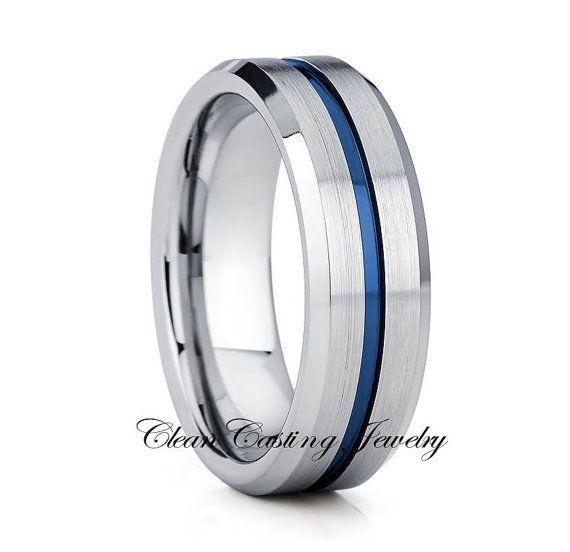 Blue Tungsten Wedding Ring,Blue Tungsten Wedding Band,Blue Tungsten Ring,Anniversary Band,Engagement Band,Comfort Fit,Handmade,Set,7mm