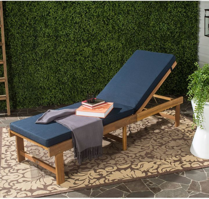 Attirant Safavieh Inglewood All Weather Chaise Lounge Chair In Brown/Navy