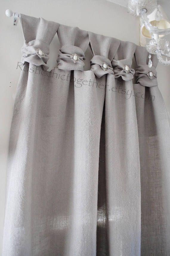 Burlap Wide Ruched Tabs Curtain Silver Jewelry Ash Gray Burlap Cortinas De Arpillera Cortinas Cortinas Grises