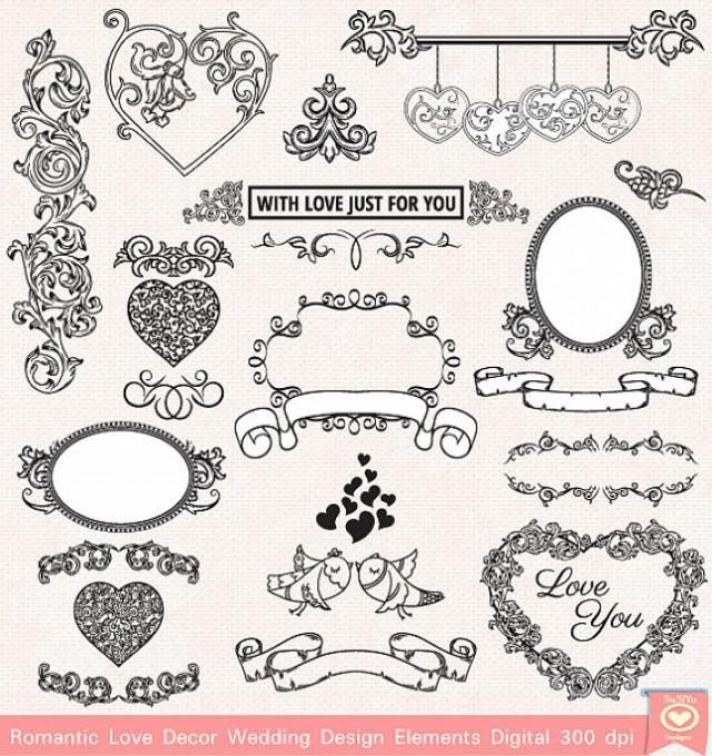 INSTANT DONWLOAD Romantic Love Frame Decor Heart Clip Art Design - free invitation clipart
