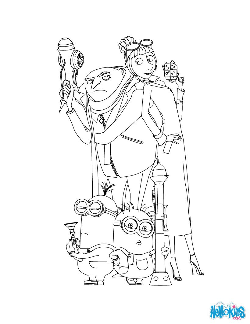 Gru And The Minions Coloring Page Color In This Others With Our Library Of Online Pages