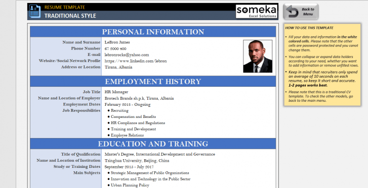 Resume Templates In Excel Resume Template Good Resume Examples Resume Examples