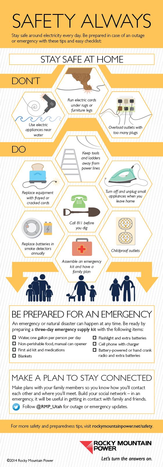 September is National Preparedness Month! Check out Rocky Mountain Power's infographic for a list of safety reminders and three-day emergency supplies.