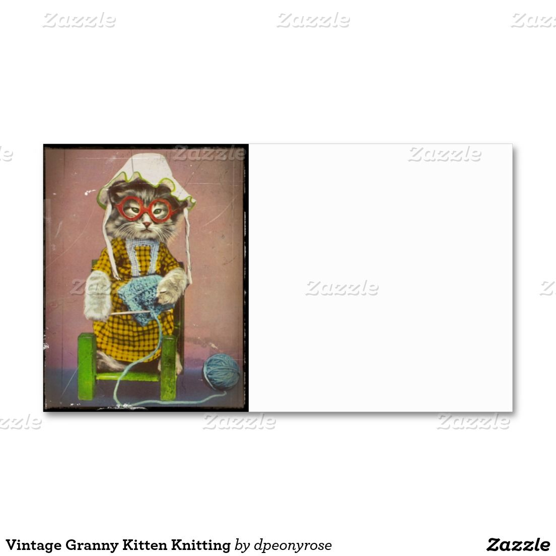 Vintage granny kitten knitting double sided standard business vintage granny kitten knitting double sided standard business cards pack of 100 magicingreecefo Image collections