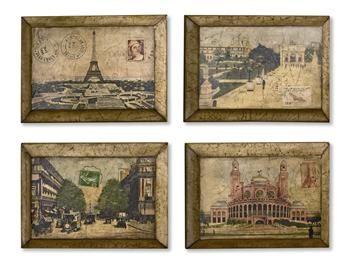 Antique Hand Painted Paris Postcard Wooden Wall Décor - Set of four