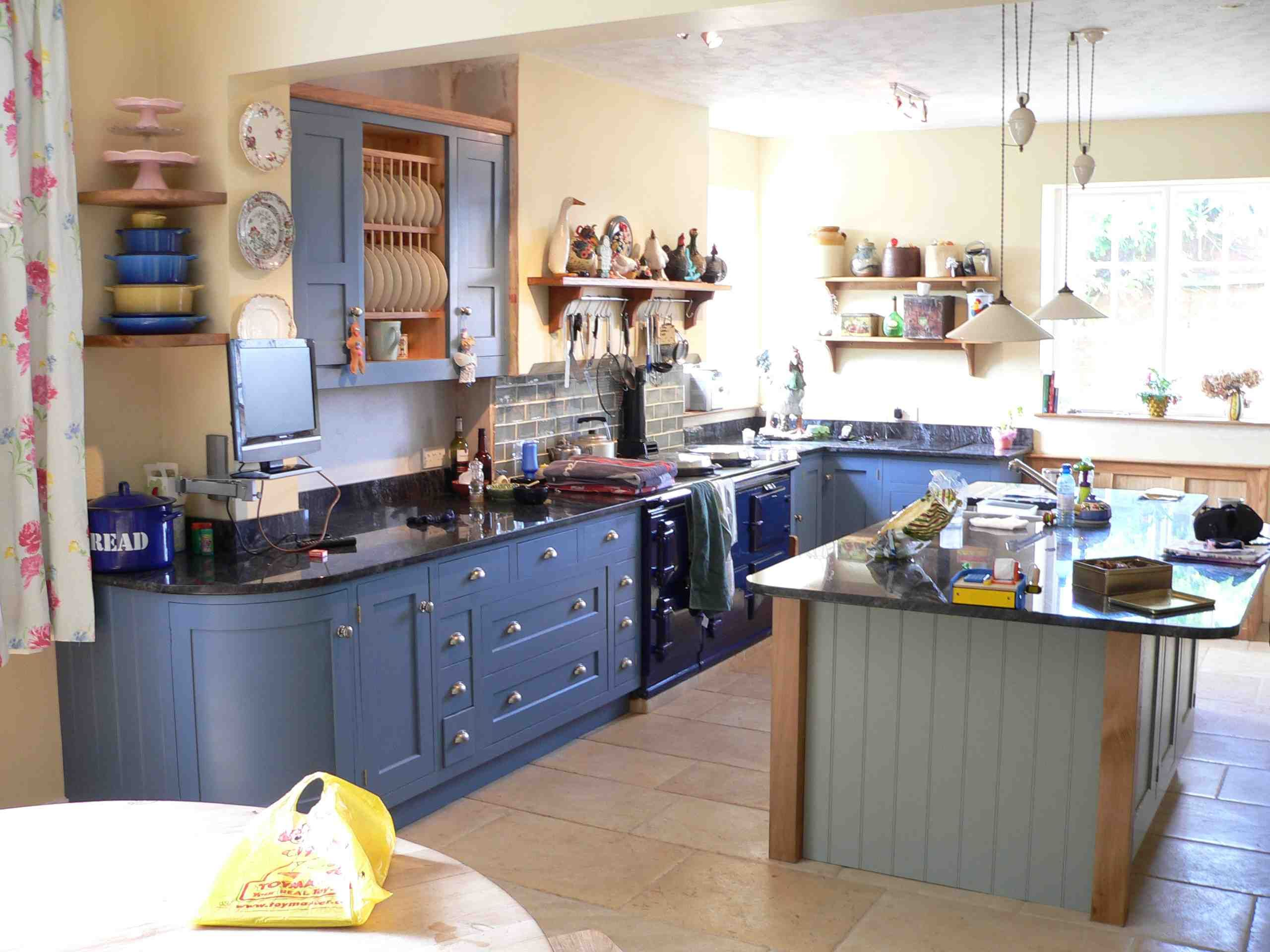 Bespoke Kitchen Design Painting green and blue kitchen | bespoke kitchen painted in blue and green