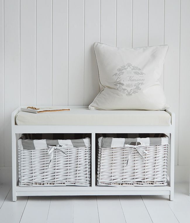 Gatsby White Storage Seat Bench With Lined Baskets