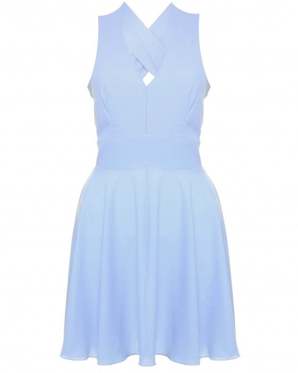 LOVE Baby Blue Cross Back Skater Dress - In Love With Fashion