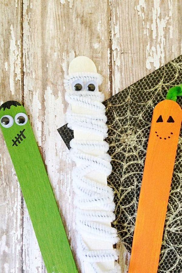 40 Kreatives Eis am Stiel Basteln für Kinder #halloweencraftsforkids