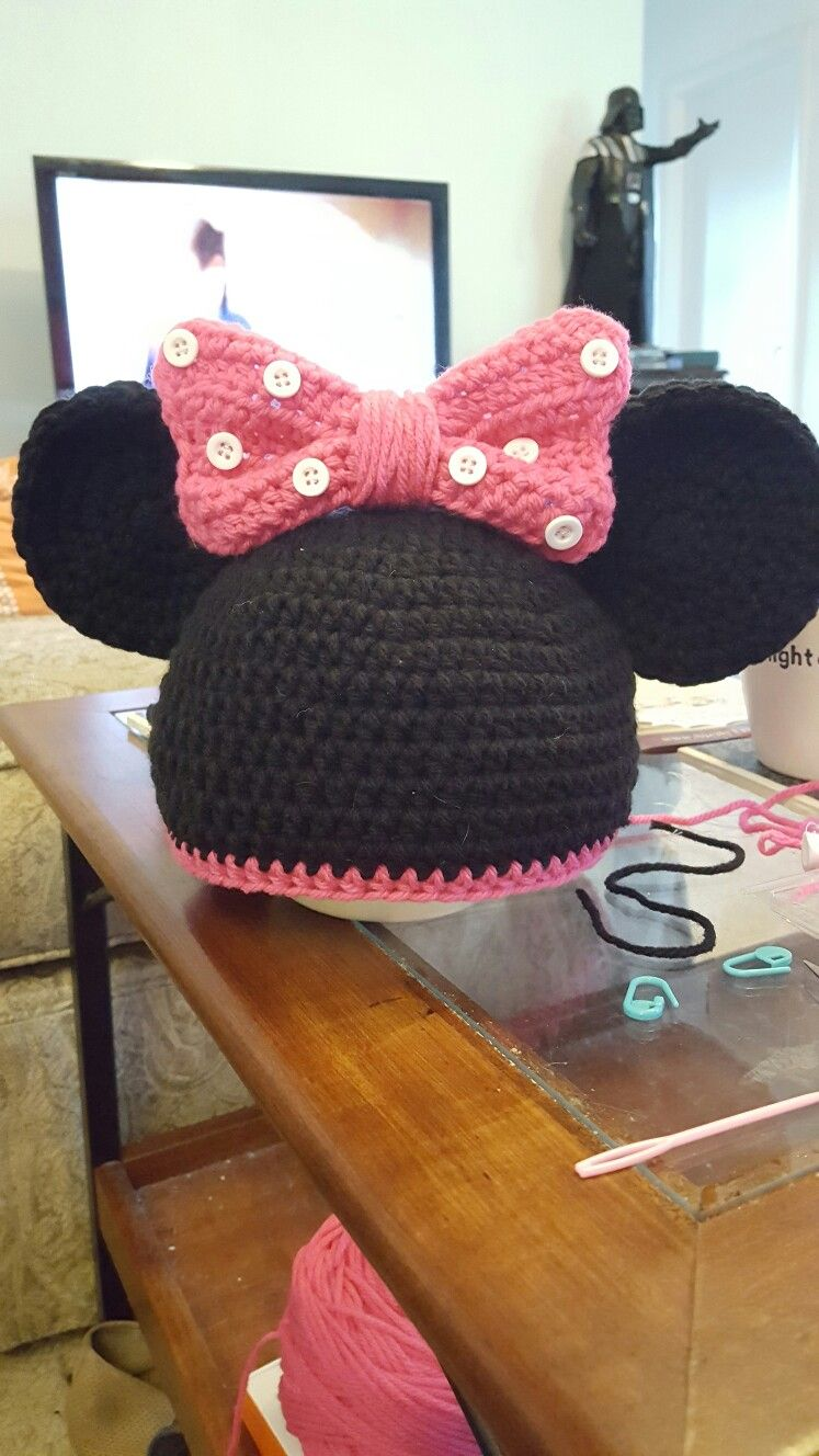 Crochet Minnie Mouse inspired hat | My Crochet Projects | Pinterest ...