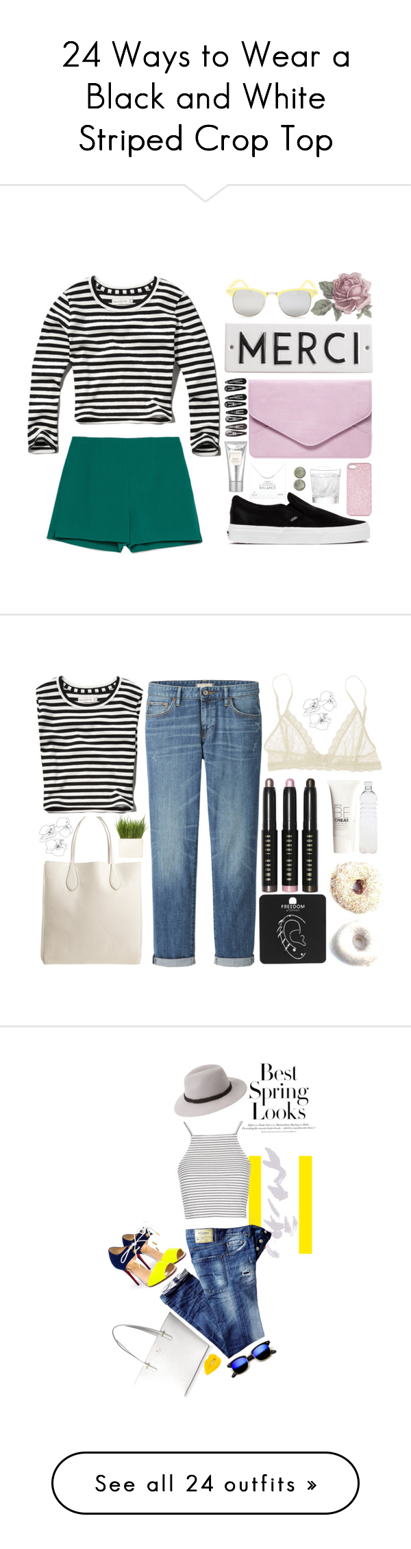 """""""24 Ways to Wear a Black and White Striped Crop Top"""" by polyvore-editorial on Polyvore"""